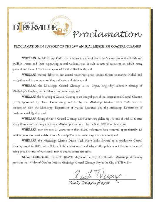Proclamation - D'Iberville